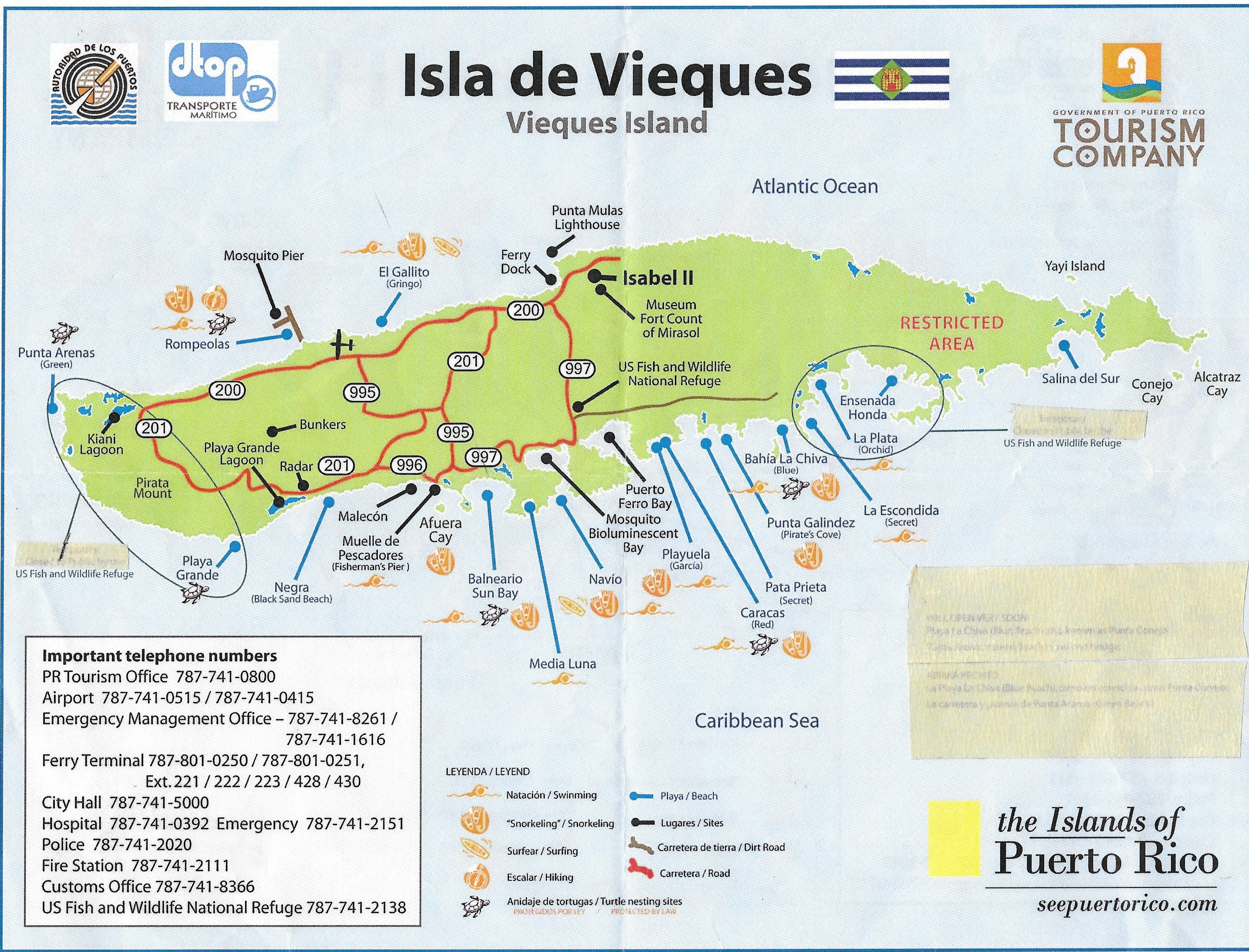 Great Map of Vieques Beaches Casa de Kathy